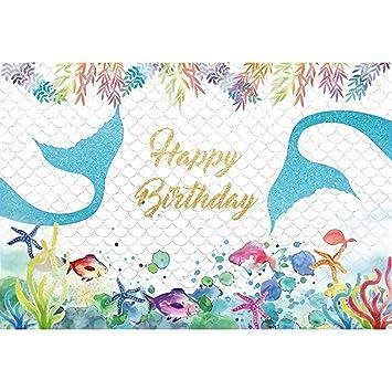Cassisy 3x2m Vinilo Cumpleaños Telon de Fondo Feliz cumpleaños Mundo Submarino Burbuja Cola de Sirena Fondos para Fotografia Party bebé Infantil Photo ...