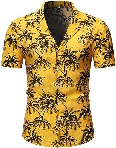 Cocoty-store 2019 Camisa Hawaiana para Hombre Shirt de Manga Corta Estampados de Palmeras, Barcos, Flores, Regular Casual, Camiseta Bonita y Cómoda para Verano, Diversos Colores y Tallas: Amazon.es: Ropa y accesorios