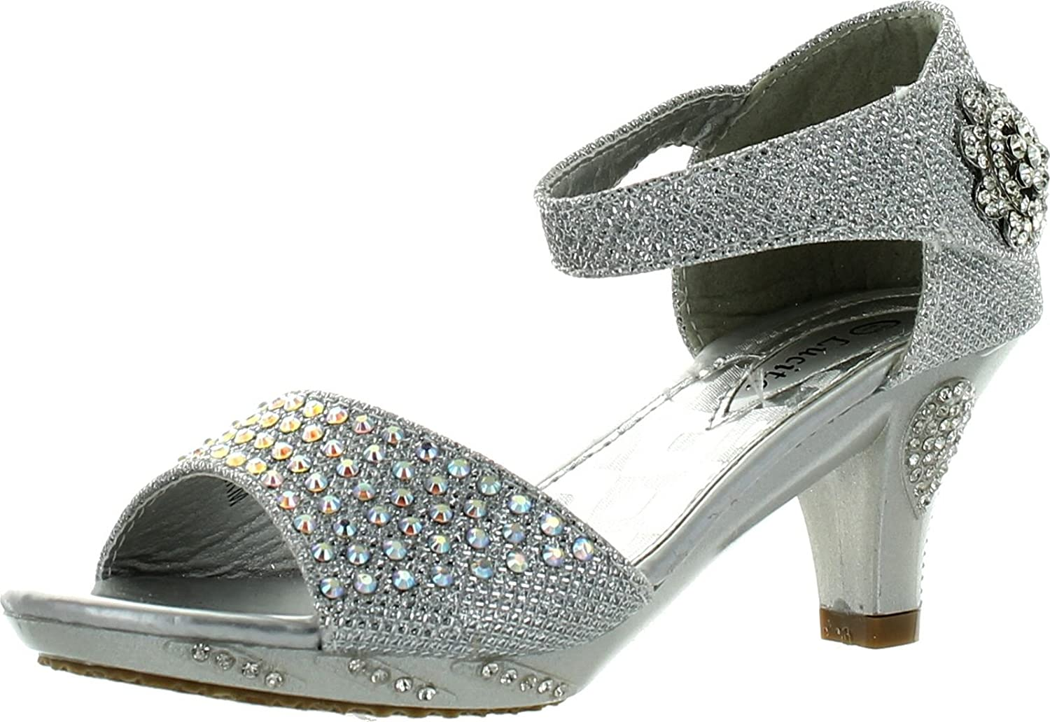 Girls Dress Shoes Lucita Jan-2Km Rhinestone Heel Platform Dress Sandals Silver