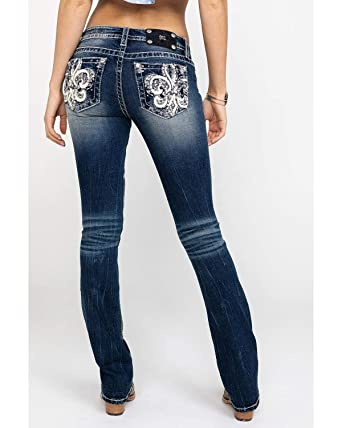 869fd372ba2 Amazon.com  Miss Me Women s Fleurish for You Embroidered Boot Jeans Medium  Blue 28  Clothing