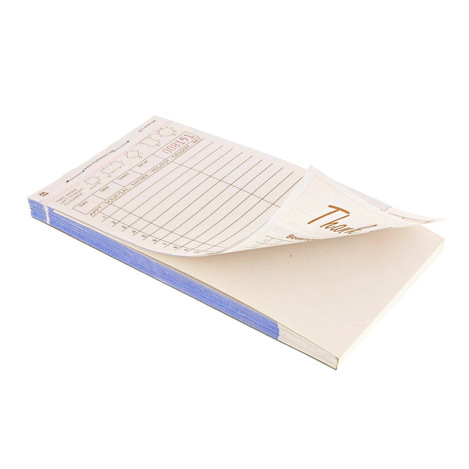 Royal Tan Guest Check Board, Carbonless 2 Part Booked, Case of 40 Books