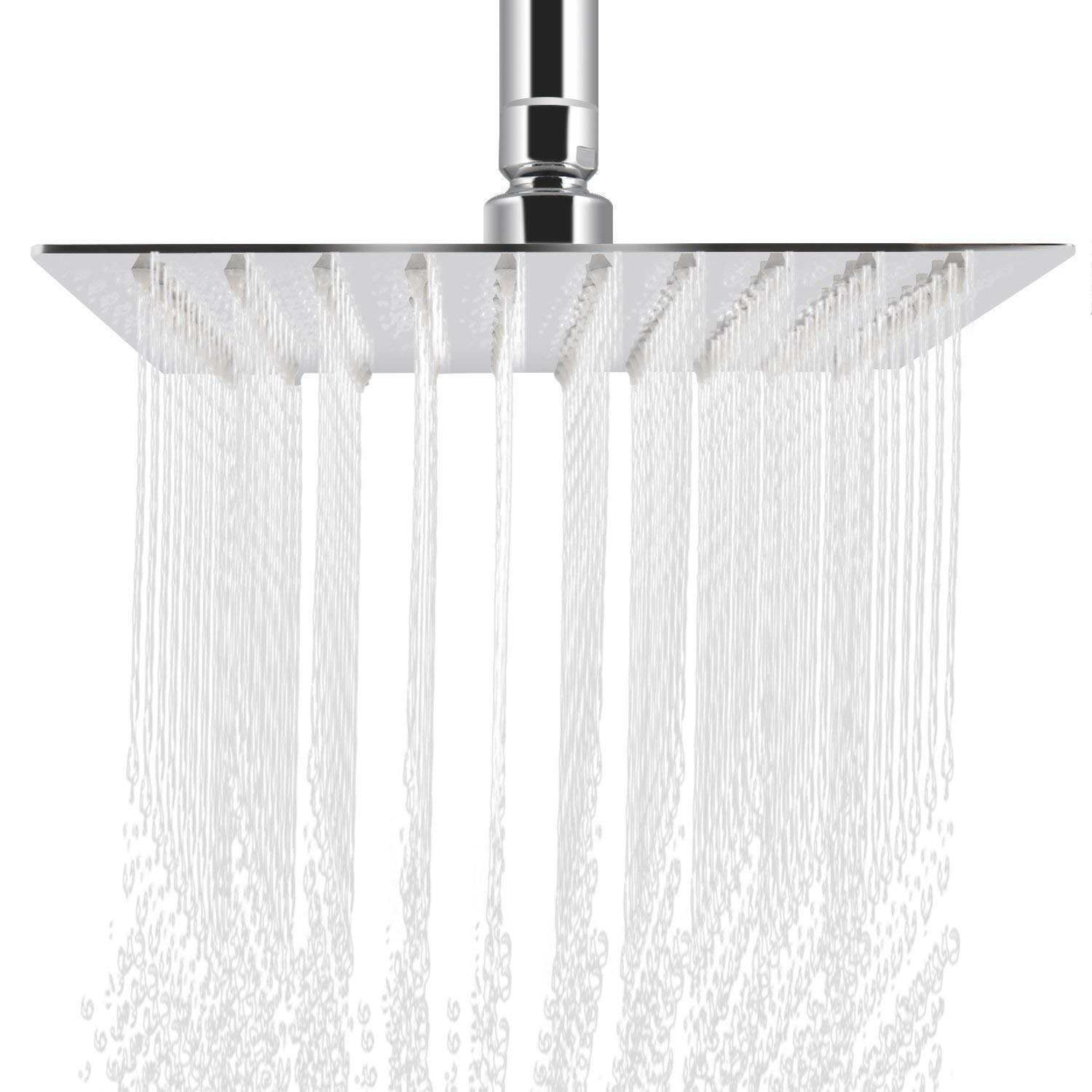 10 inch Square Rainfall Shower Head High Pressure - deluxe Stainless Steel Rain Spray Showerhead Filter - Waterfall Effect Water Saving - Wall Mounted jooe