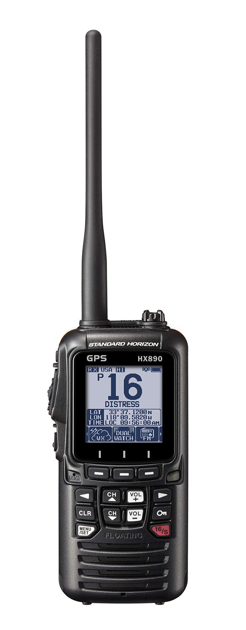 Standard Horizon HX890 Black Handheld VHF - Floating 6 Watt Class H DSC Two Way Radio