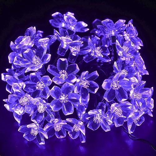 CrazyFire Solar Patio String Light,50 LED Purple Flower Solar String Garden Light,8 Modes 23ft Decorative Christmas Fairy Blossom Light String for Party, Indoor Decor, Wedding Decoration, Patio, Garden, Holiday, Home, Tree Purple Light