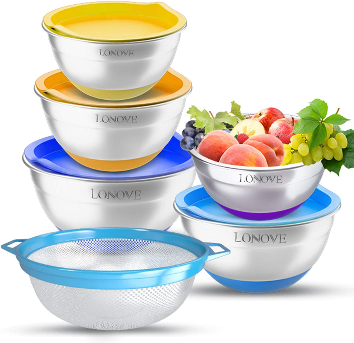 Mixing Bowls with Lids Set & Extra Colander, Colorful Stainless Steel Metal Nesting Bowls for Kitchen Non-slip Bottom Size 7, 3.5, 2.5, 2, 1.5QT, Meausring Marks, Ideal for Mixing/Baking/Serving, 6pcs