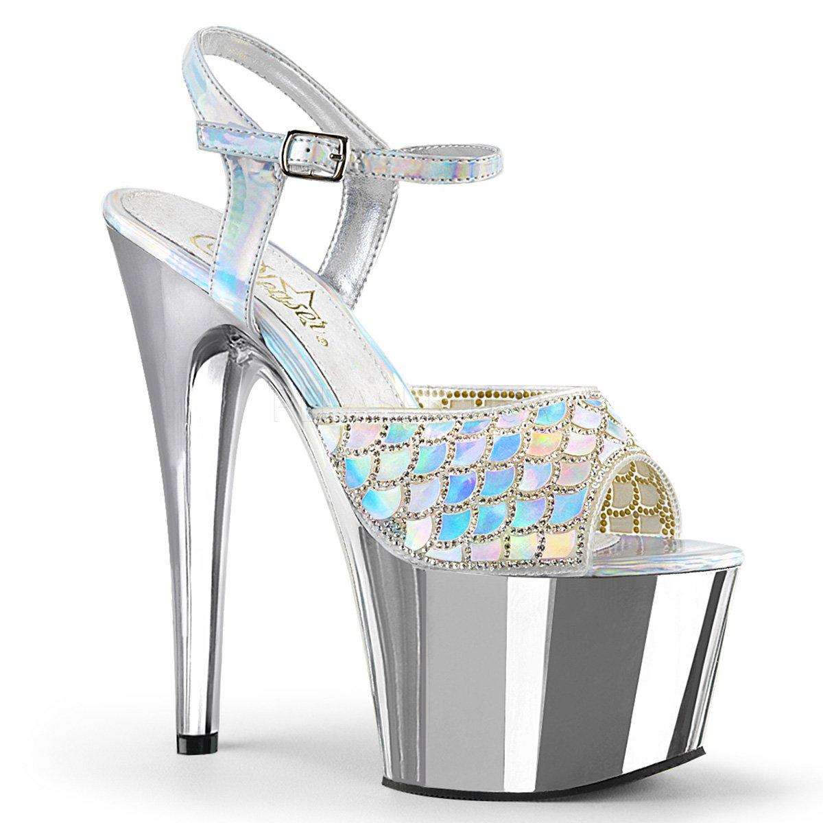Women's Silver Hologram Rinestone Scale Design Chrome Platform Sandals - DeluxeAdultCostumes.com