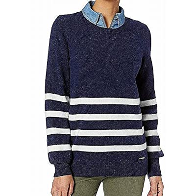 MICHAEL Michael Kors Womens Striped Crew-Neck Sweater (True Navy, X-Small) at Women's Clothing store