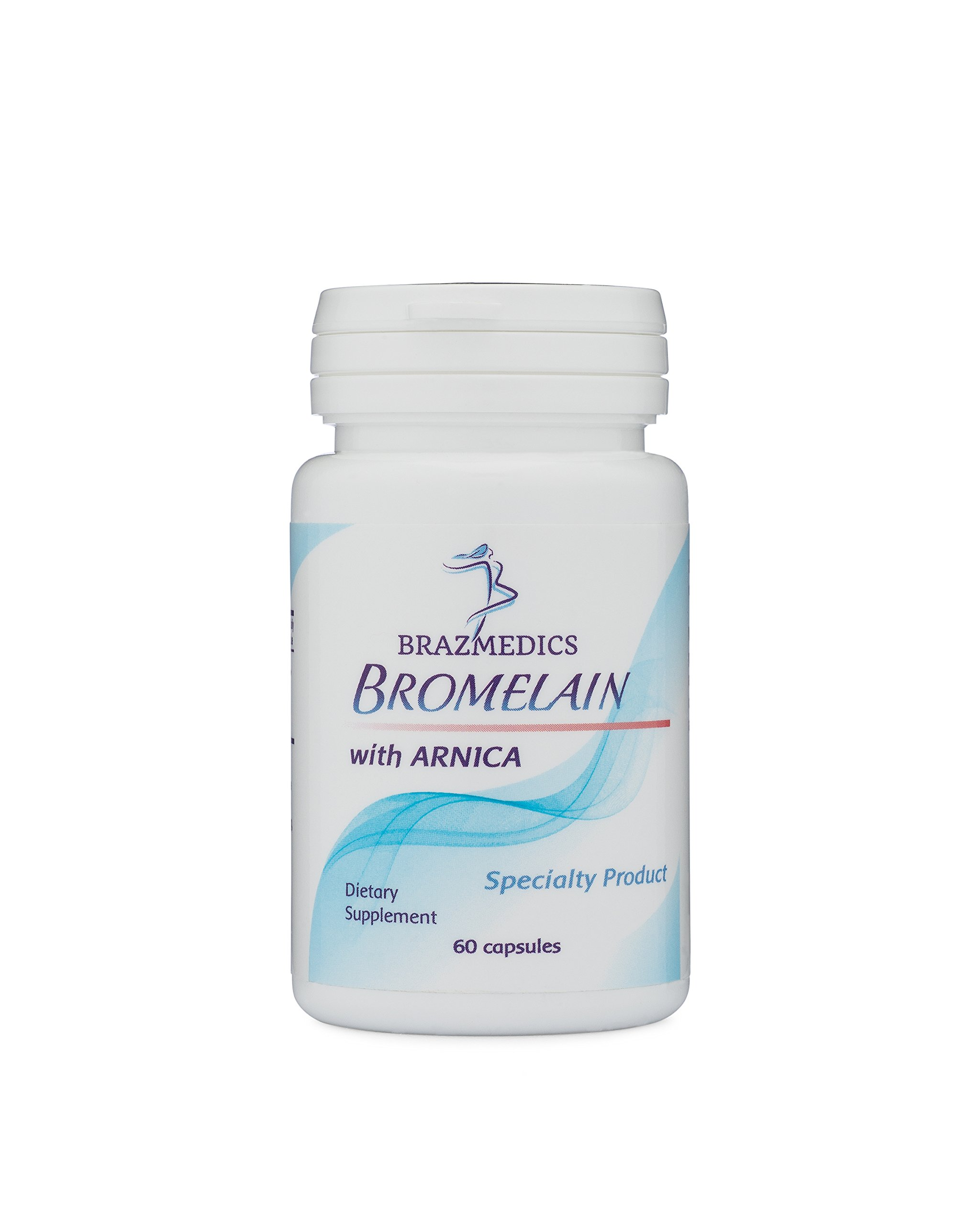 Brazmedics Bromelain with Arnica Tablets, 500 mg/2400 GDU, 60 Capsules, Natural Dietary Supplement