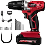 "20V Cordless Drill, Power Drill Set with 3/8"" Keyless Chuck, Variable Speed, 16 Position with LED Light, 22pcs Drill/Driver Bits Included, Masterworks MW316"