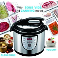 Electric Pressure Cooker 6Qt Slow Cook Programmable 18 Kinds of Cooking Option with Stainless Steel Inner Pot,Sous Vide,Rice Cooker,Egg Cooker,Hot Pot,Baking,Cake,Steamer,Yogurt,Scouring Pad,24-Hour Delay Timer and Automatic Keep Warm