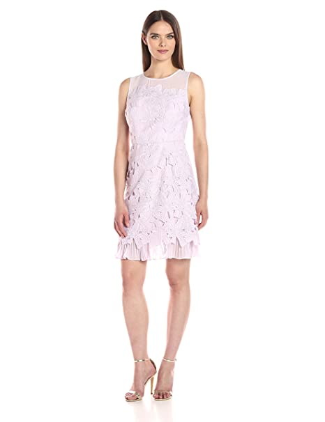 Adrianna Papell Womens Celcelia Lace With Pleated Kick Skirt