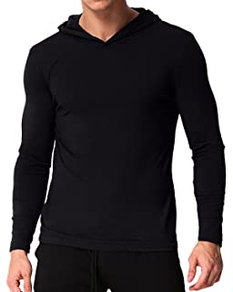 bac18ccf77e6 PODOM Men's Long Sleeve Hoodies Lightweight Pullover Sweatshirts Tee Shirts  Cotton V Neck Tops