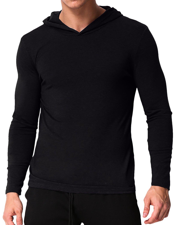 PODOM Men's Long Sleeve Hoodies Hooded Sweatshirts Tee Shirts Cotton V Neck Tops Black S