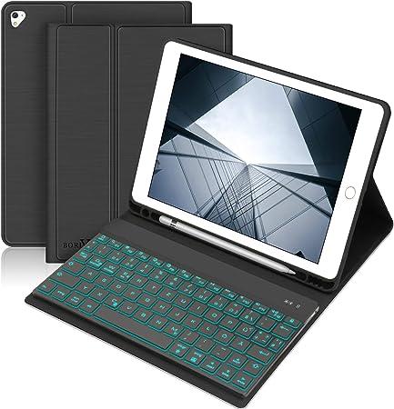 BORIYUAN Funda para teclado Compatible con iPad 2018 (6ª Gen), iPad 2017 (5ª Gen), iPad Air 2/1, pro 9.7 2016 - activación automática con teclado ...