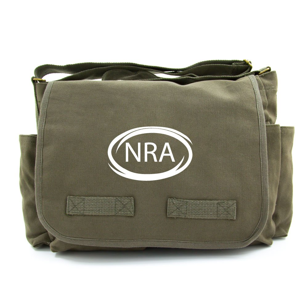 NRA National Rifle Association Army Heavyweight Canvas Messenger Shoulder Bag in Black /& White