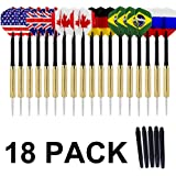 COMSUN 18 Pack Needle Tip Darts Set, with National Flag Flights (6 Styles), 18 Grams Stainless Steel Needle Brass Barrels with 5 Extra Free PVC Dart Rods for Any Dartboard