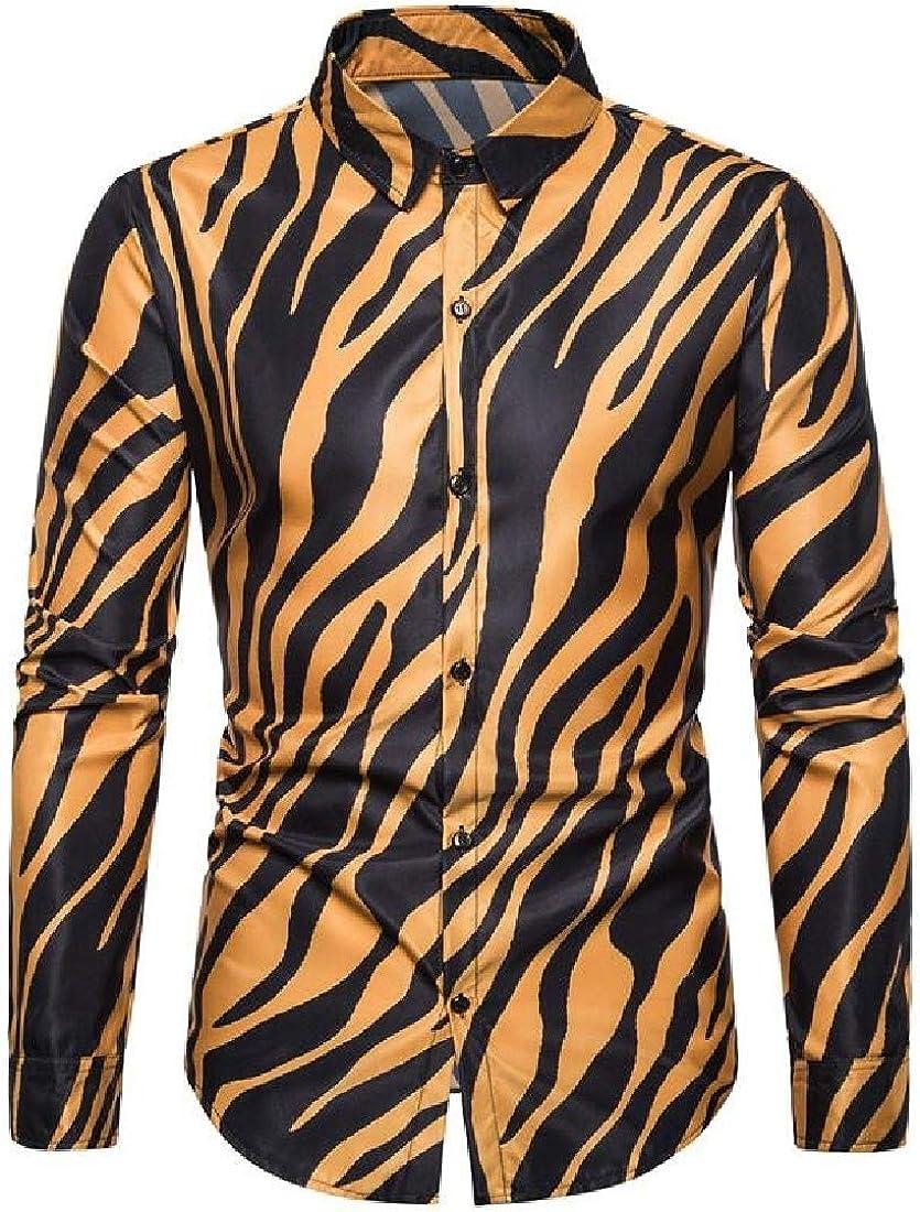 SHOWNO Men Button Down Regular Fit Long Sleeve Zebra-Print Club Perform Shit