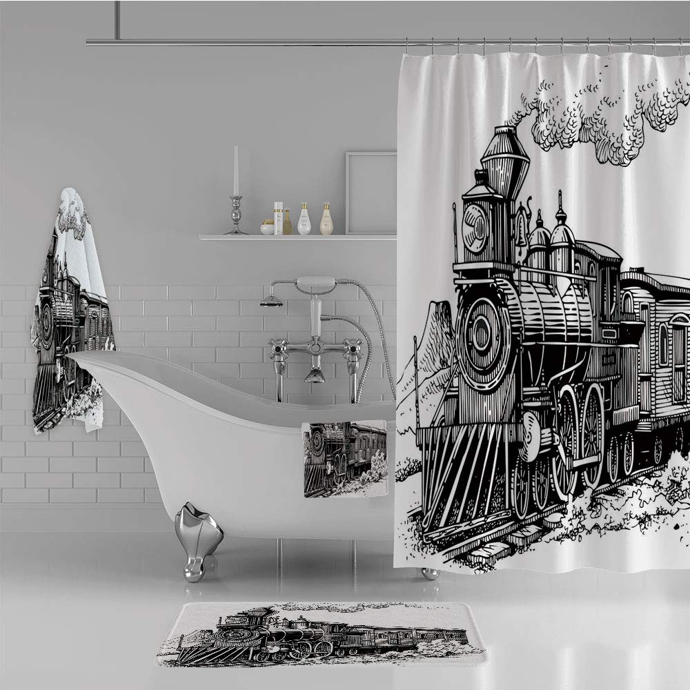 iPrint Bathroom 4 Piece Set Shower Curtain Floor mat Bath Towel 3D Print,Country Locomotive Wooden Wagons Rail Road,Fashion Personality Customization adds Color to Your Bathroom.