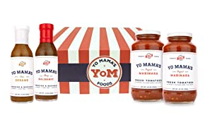 Gourmet Food Gift Basket by Yo Mama's Foods | Includes (2) Gourmet Sauces and (2) Signature Dressings | Low Sugar, Low Carb, Low Sodium, Gluten-Free, and made from Fresh, Whole Ingredients!