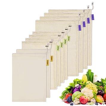 Kyerivs Reusabl Zero Waste - Bolsa biodegradable de algodón orgánico para frutas y verduras, juego de 10 (4L, 4M, 2M), tela