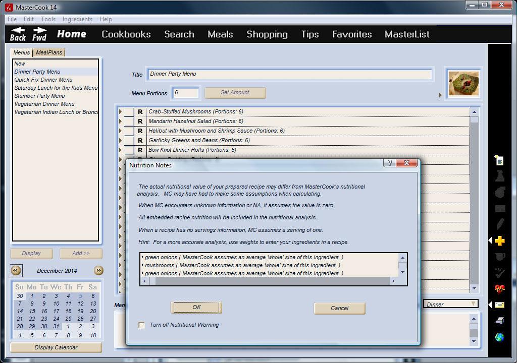 MasterCook DELUXE Version 8.0 PC Recipe Software kitchen menu meal plan diet