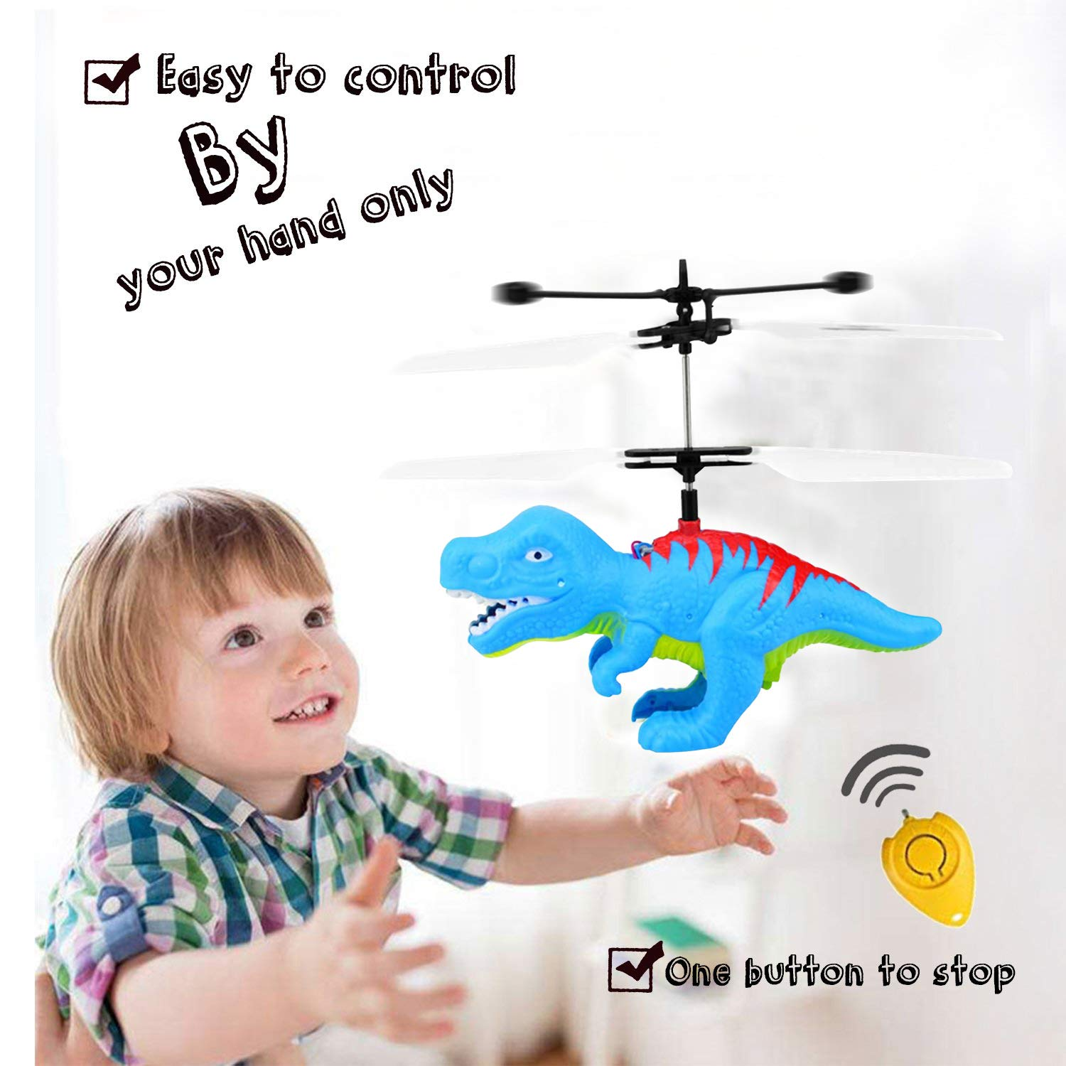 Funburg Flying Ball Dinosaur Toys,RC Drone LED Colorful Light Up Helicopter with Remote,Indoor Outdoor for 6 Year Old Kid,Infrared Induction Flying Toys Dinosaur Birthday Gifts for Boys Girls Kids by Funburg (Image #2)