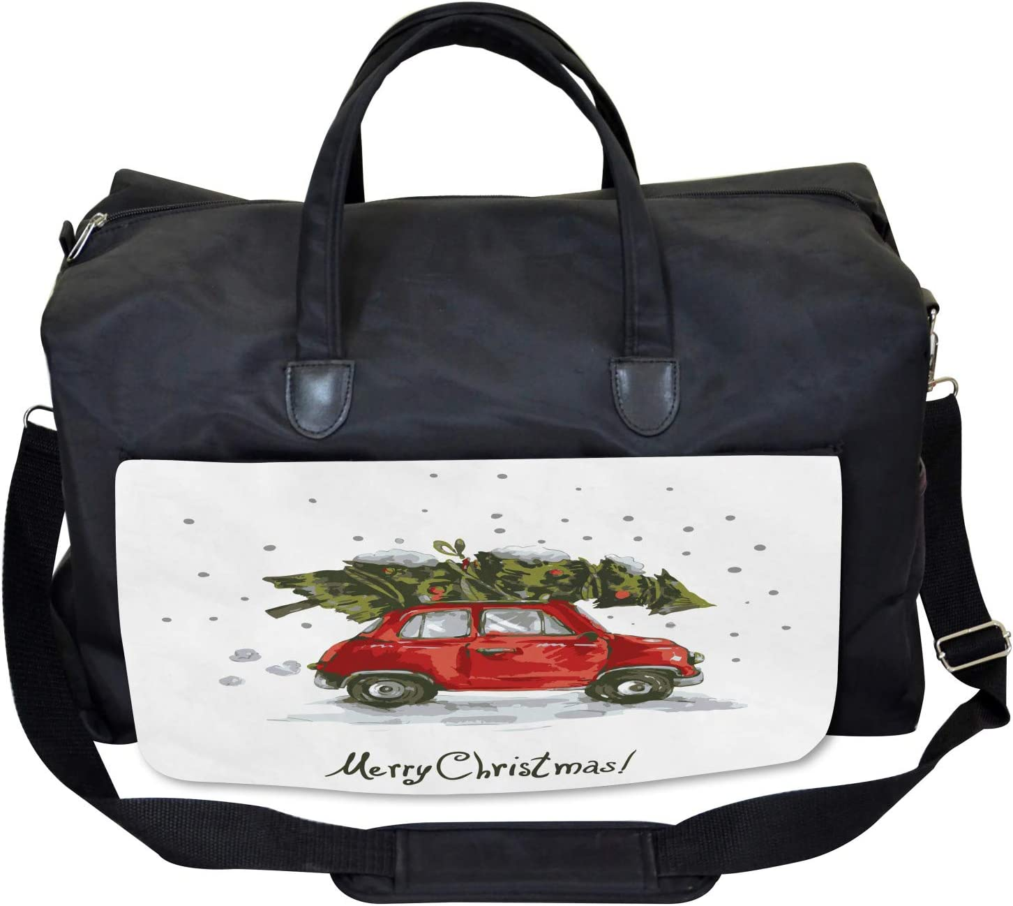 Retro Car with Tree Large Weekender Carry-on Ambesonne Christmas Gym Bag