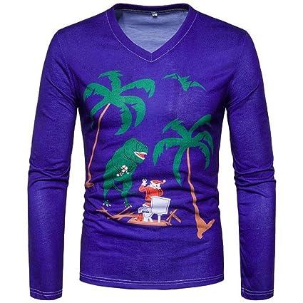 1ffb098519ee Elogoog Men s Slim Fit Santa Ugly Christmas Reindeer - Funny Xmas Long  Sleeve T-Shirt