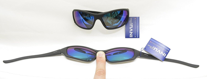 Gafas de sol polarizadas INVU, ref. A 2501, negro espejado verde y azul, elástico indeformable Lentes que bloquean el 100% de los rayos UV: Amazon.es: ...