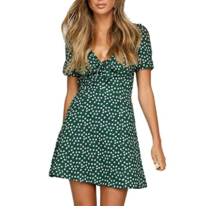1fa2c8469eb5 Image Unavailable. Image not available for. Color: Women's Bohemian Dresses  V Neck Knoted Ruffle Polka Dot Casual Loose Swing ...