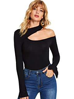 be6ad6654f01c9 SheIn Women's Sexy One Shoulder Long Sleeve Slim Fit Cut Out Tee T-Shirts