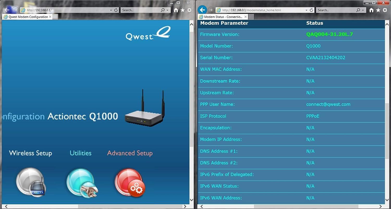 CenturyLink Actiontec Q1000  VDSL2  4-Port Wireless N Router//Modem Qwest