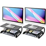 Monitor Stand Riser - 2 Tier Monitor Riser for Computer, Laptop, Desktop, PC & Printer, 2 Pack Metal Vented Laptop Riser…