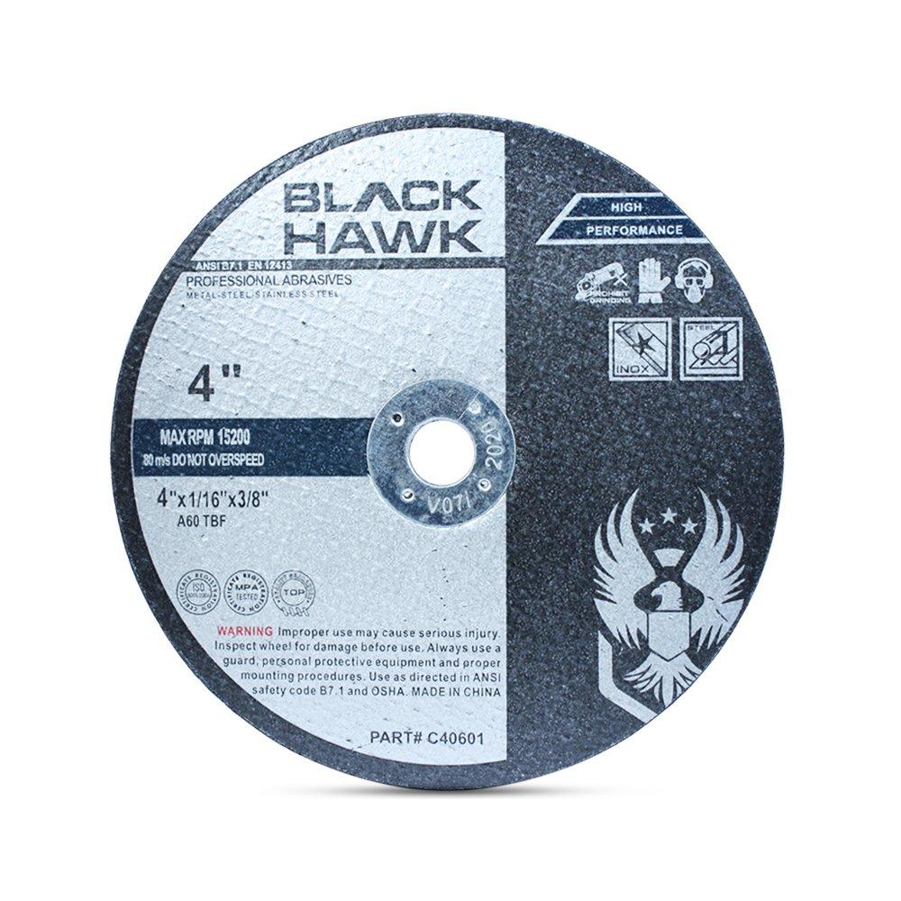 25 Pack 4'' x 1/16'' x 3/8'' Arbor Metal & Stainless Steel Cut Off Wheels - for Die Grinders by Black Hawk
