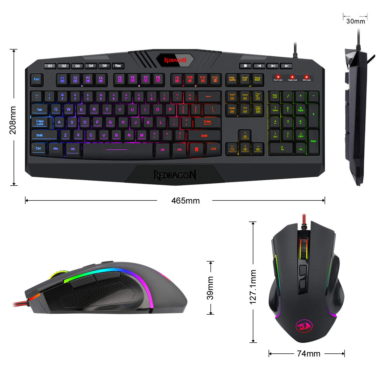 ... RGB LED Backlit 104 Keys USB Wired Ergonomic Keyboard with Macro, Multimedia Keys Wrist Rest, 8 Buttons RGB Backlit Gaming Mouse 7200 DPI for Windows PC