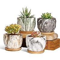 T4U Marmurowane ceramiczne doniczki na sukulenty z podstawką, zestaw 4 sztuk, 9 cm, mała doniczka na kaktusy, zioła…