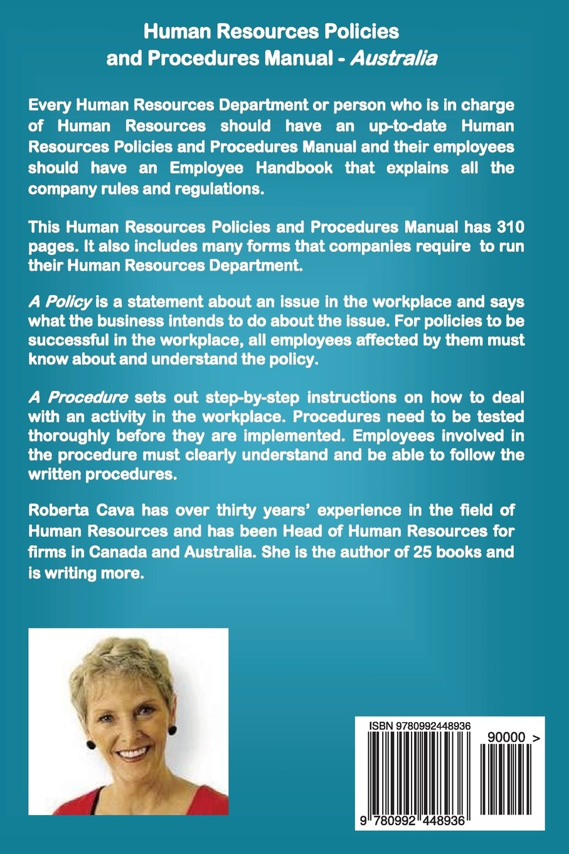 Human Resources Policies and Procedures Manual - Australia: Roberta Cava:  9780992448936: Amazon.com: Books