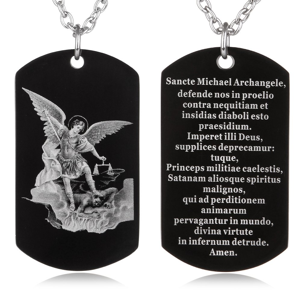 FAYERXL St Michael The Archangel Latin Prayer Dog Tag Necklace Military Pendant Christian Faith Jewelry UK_B07BJ99C15