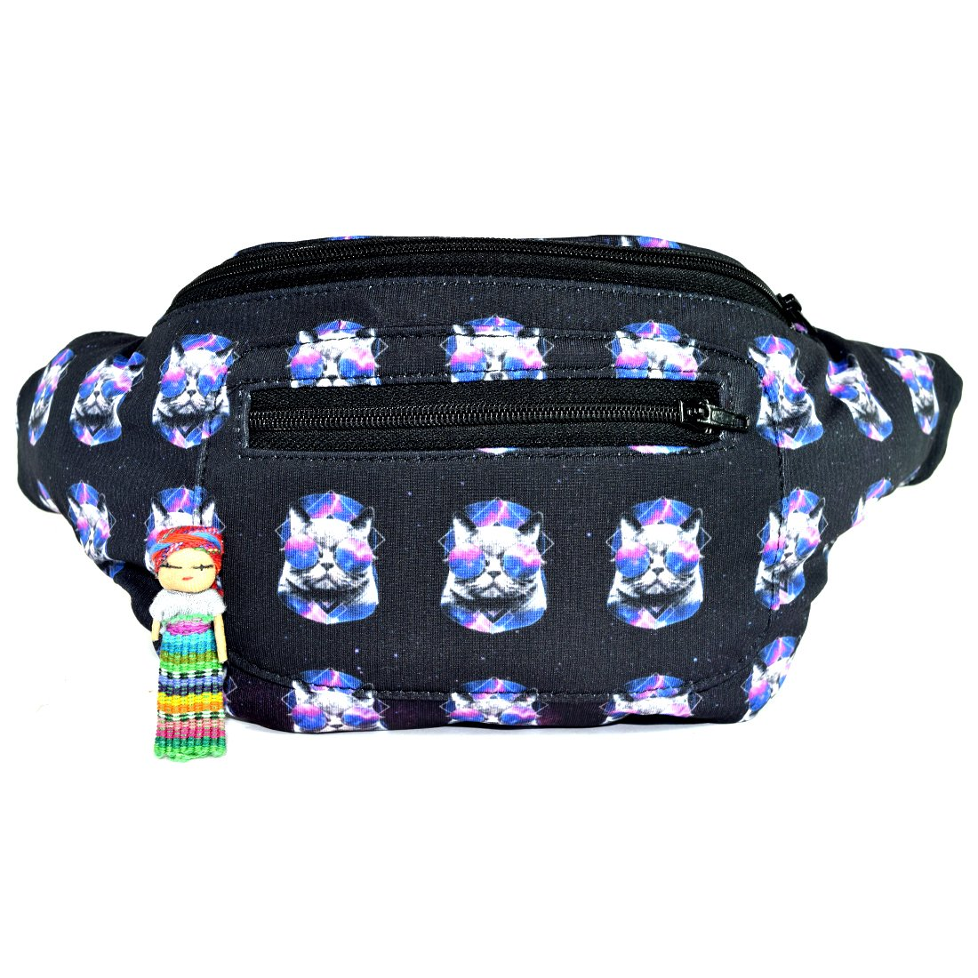 Galaxy Cat Fanny Pack, Boho Chic Handmade w/Hidden Pocket (Spaced Out Cats)