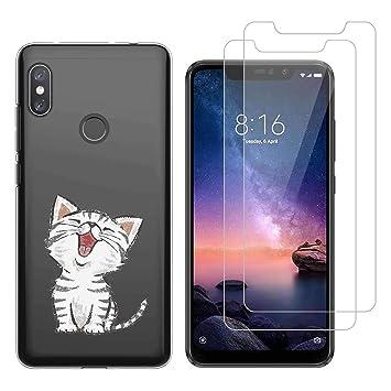 Funda Xiaomi Redmi Note 6 Pro Lindo Gato Suave TPU Silicona Protector Trasero Carcasa para Xiaomi Redmi Note 6 Pro (6,26 Pulgada) con Dos Protector de ...