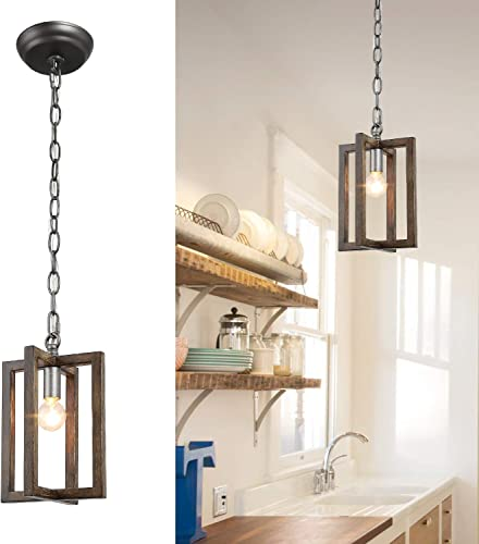 LOG BARN Pendant Lighting, Hanging Lamp Rustic Metal Cage Finish, Small Farmhouse Mini Chandelier for Kitchen Island, Foyer, Entryway, Dining Room