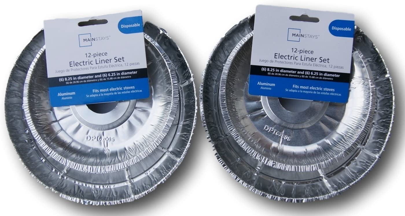 The Basics 24 Piece Electric Stove Disposable Drip Pan Liner Set, Silver