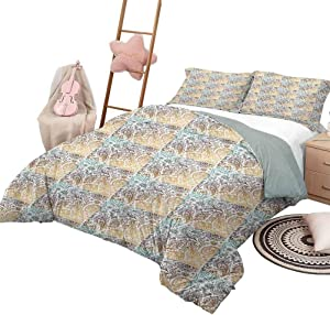 DayDayFun Quilt Set Paisley Custom Bedding Machine Washable Vintage Arabesque Floral Bloom Moroccan Culture Ottoman Design King Size Seafoam Bronze Warm Taupe