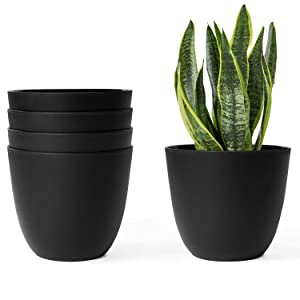 Mkono 6.5 Inch Plastic Planters Indoor Set of 5 Flower Plant Pots Modern Decorative Gardening Pot with Drainage for All House Plants, Flowers, Herbs, African Violets, Foliage Plants, Black