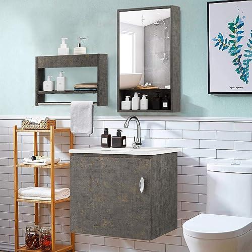 Tangkula Wall-Mounted Bathroom Vanity Set