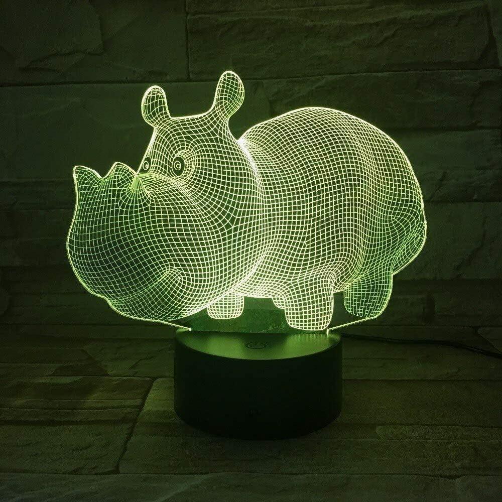 596 Cute 3D Hippopotamus USB 3D L/ámpara 7 colores Touch Luces del dormitorio Ambiente Decoraci/ón Luz Familia Padre Ni/ños Regalos A-1668