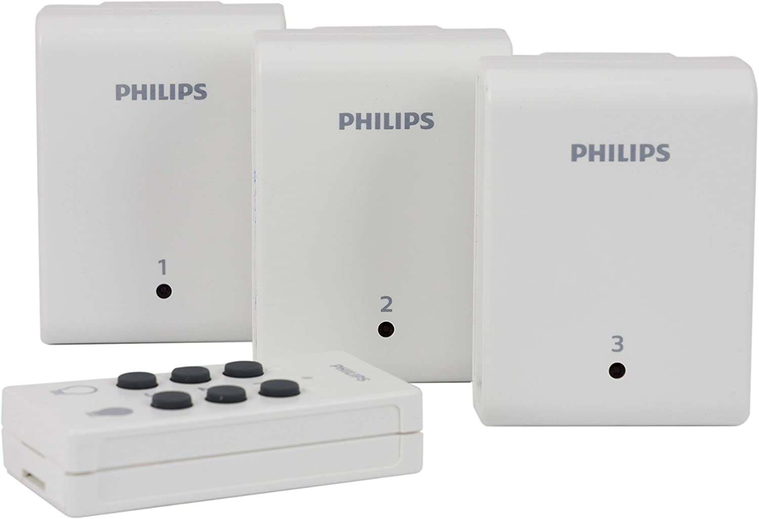 Philips Indoor Lighting Control with Wireless Remote Switch, 3 Receivers, ON/OFF Control, 1 Polarized Outlet Each, 80ft. Signal, Ideal for Lamps, Seasonal Lighting, LED, SPC1235AT/27
