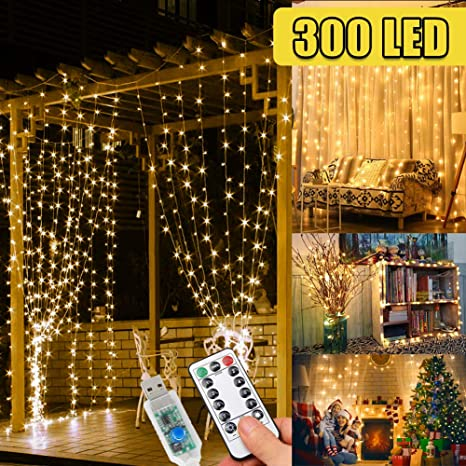 300 Led Fairy Lights Curtains Lights Gazebo Lights 3m 8 Modes String Lights Bedroom Hanging Wall Waterfall Lights For Indoor Outdoor Christmas