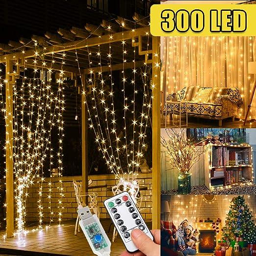 WEARXI Guirlande Lumineuse Exterieur - 3M 300 LED Guirlande Guinguette, 8  Mode Guirlande Led Mariage, Salon de Jardin, Décoration pour Fête Noël ...