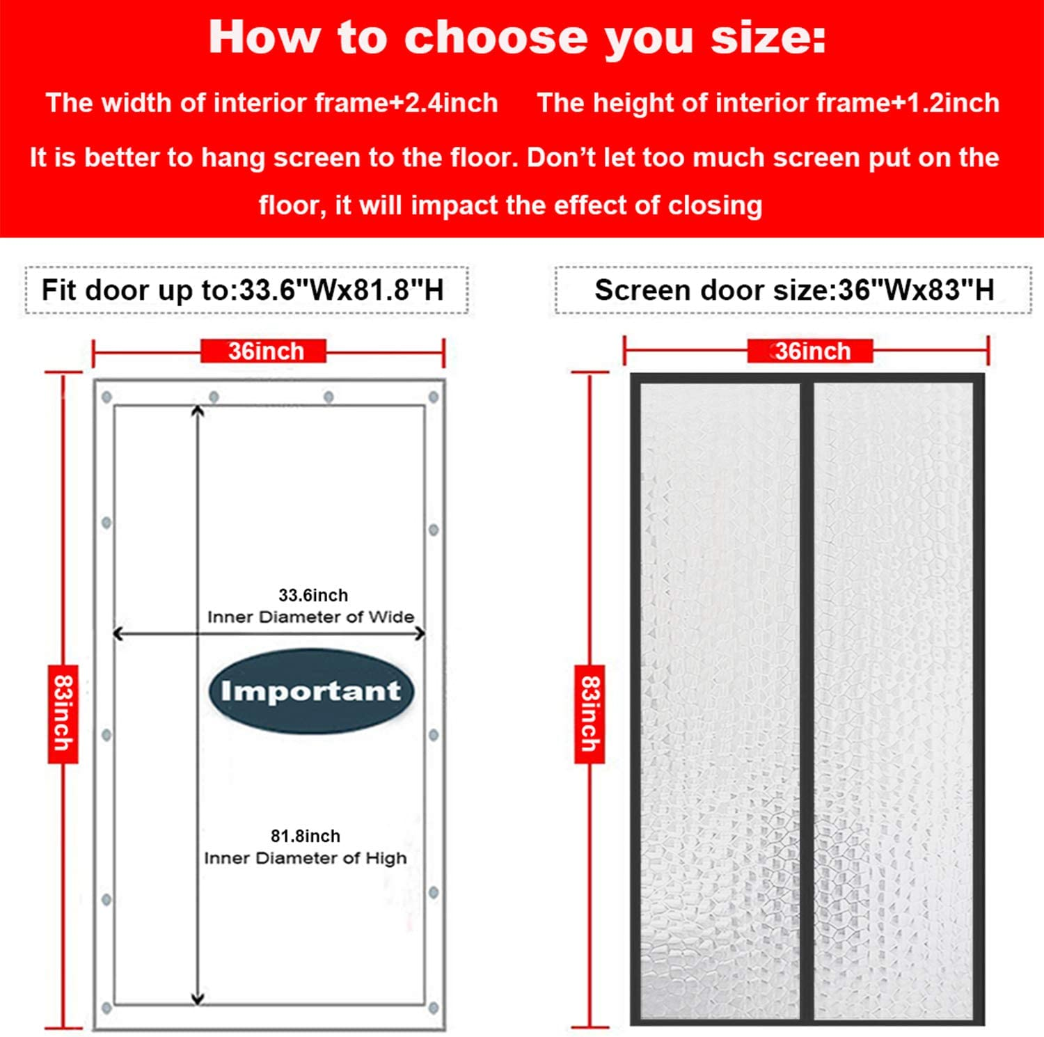 Magnetic Thermal Insulated Door Curtain 38x82 Magnet Patio Door Cover Auto Closer Fits Doors Up to 36x81 to Keep Warm in Winter Cool in Summer for Air Conditioner Heater Room Home Kitchen